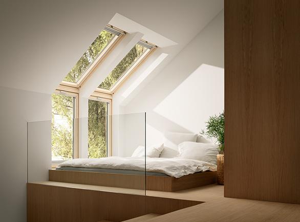 Okna obrotowe<br> i uchylno-obrotowe Velux